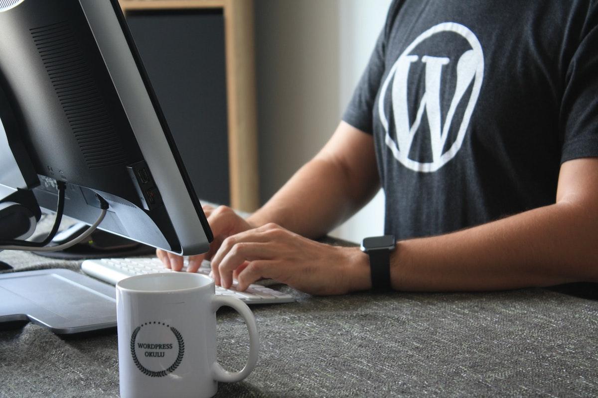 Programador creando una página web en Wordpress
