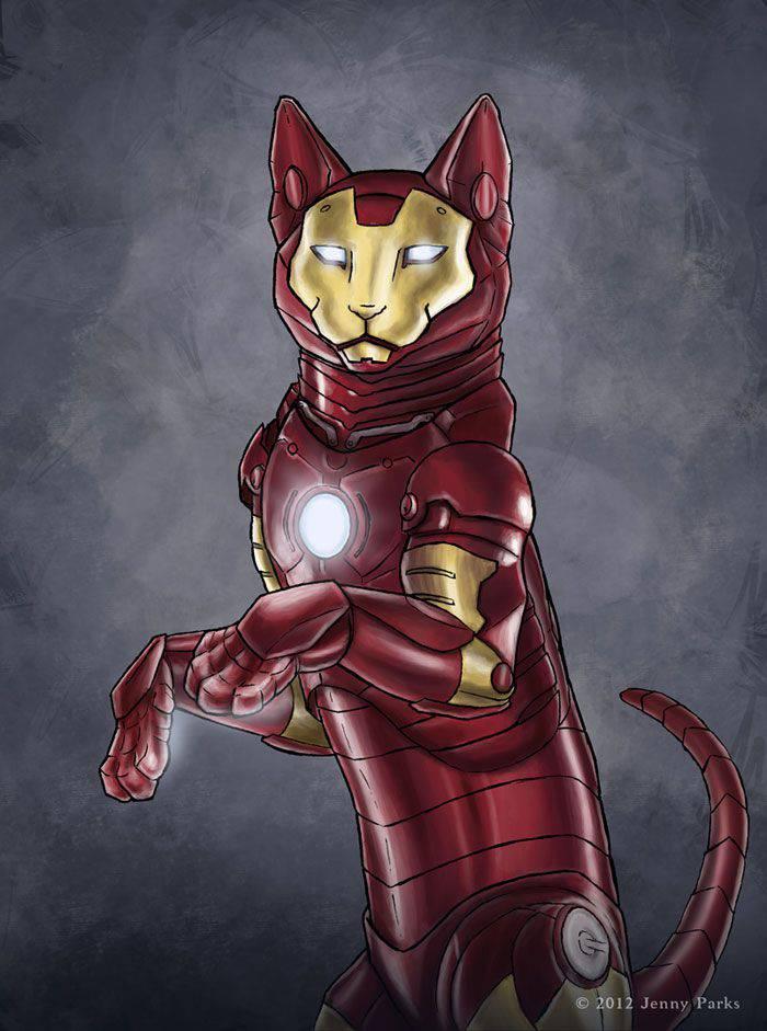 Gatos como Superheroes Iron Man | Microbio Comunicación