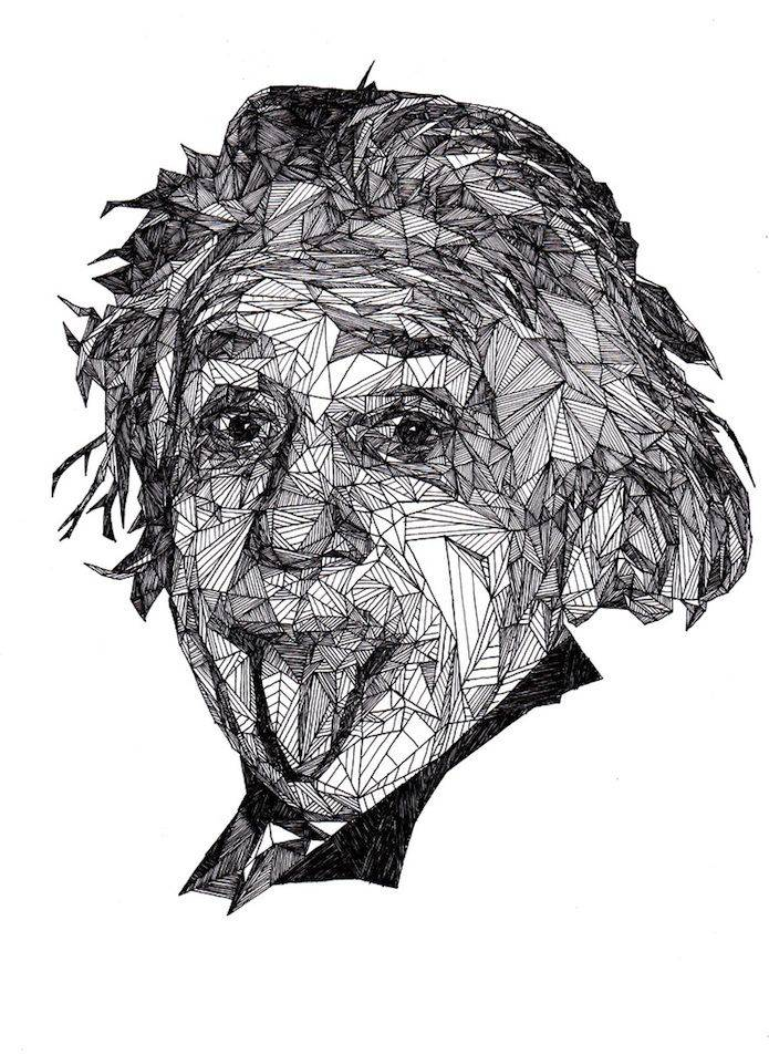 Ilustraciones con Boligrafo Albert Einstein | Microbio Comunicación