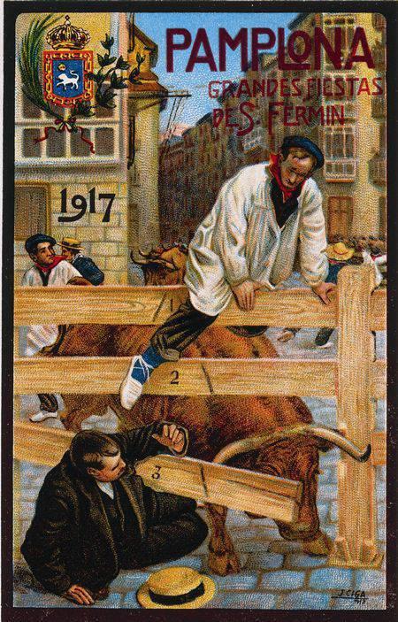 Cartel San Fermin 1917 Javier Ciga | Cartel San Fermin 1909 | Microbio Comunicación