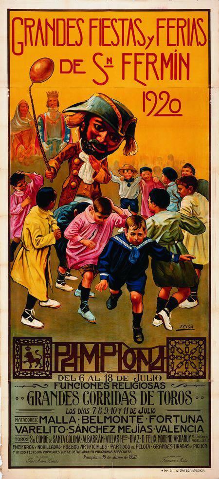 Cartel San Fermín 1920 Javier Ciga | Microbio Comunicación