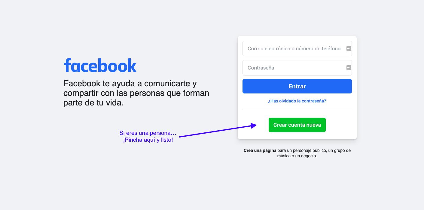 Página de registro de Facebook para perfiles personales