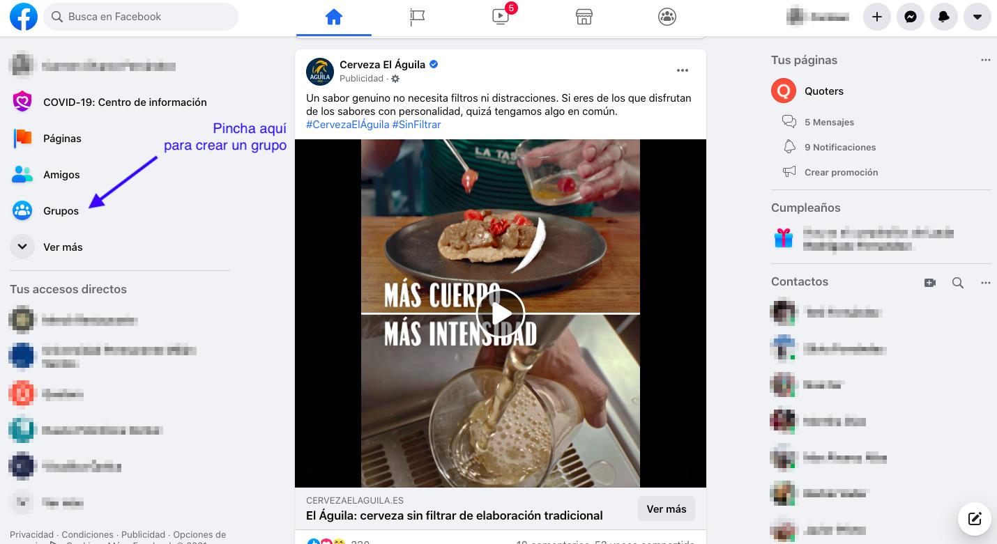 Página de inicio de Facebook para crear un grupo