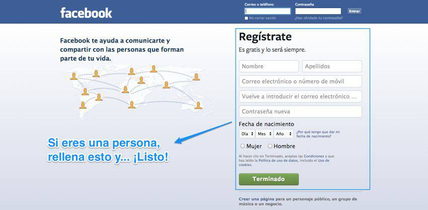 Crear un perfil de persona en Facebook