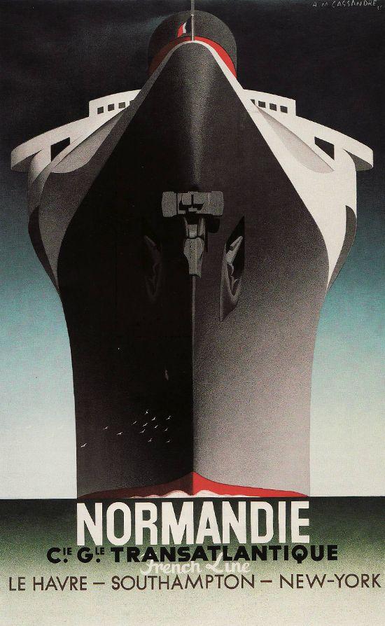 Cartel de crucero Normandie, de Cassandre