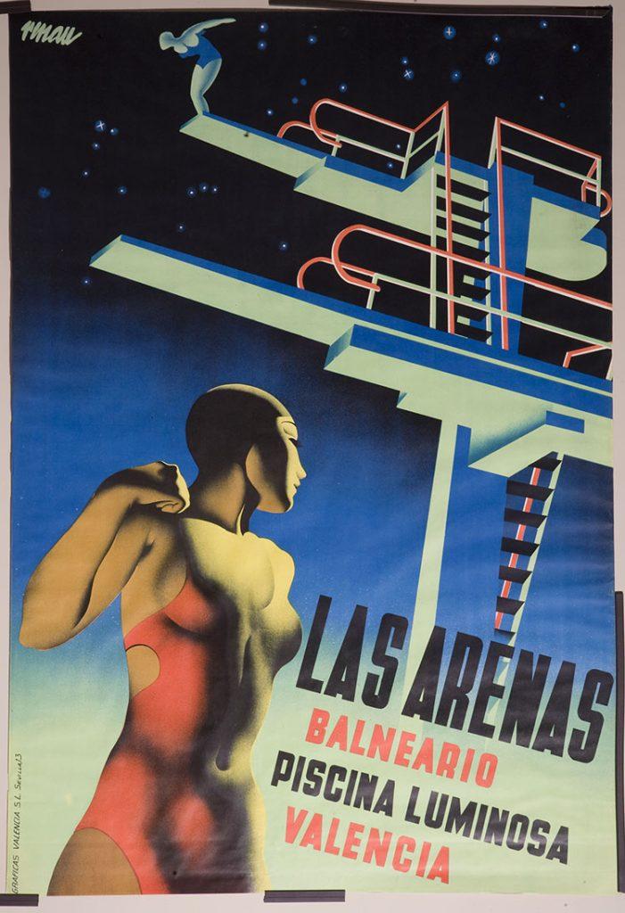 """Cartel """"La piscina Las Arenas"""", de Josep Renau."""
