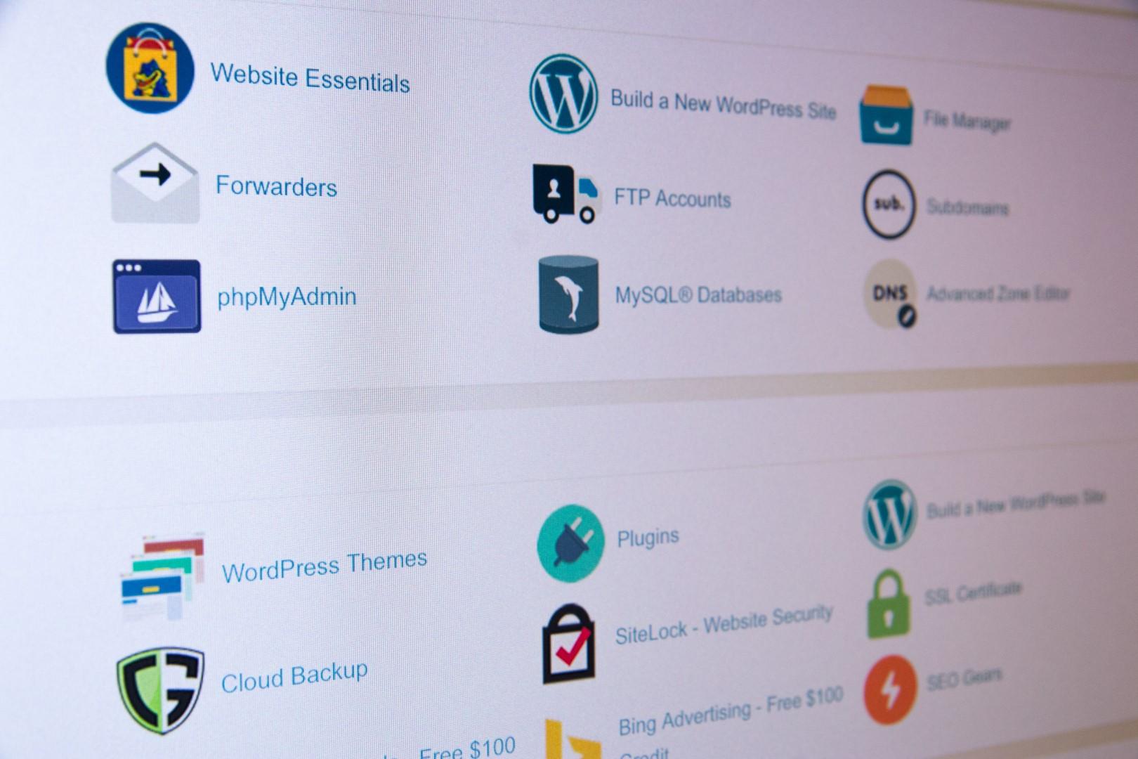 Panel de un hosting web